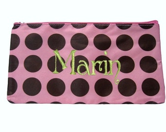 Personalized Cosmetic Case or Pencil Pouch Pink with Brown Dots  Free Shipping