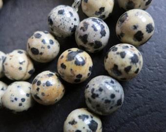 Beige Black Dalmation Round Ball Beads 10mm -40pcs/strand