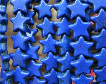 5 Str --Royal Blue Howlite Turquoise Star Beads 15mm