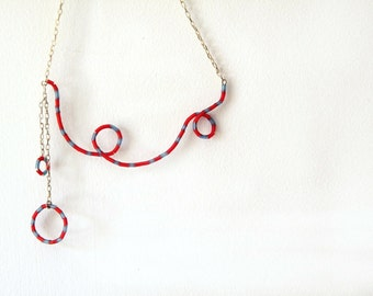 Red and blue necklace, Navy stripes rubber on silver plated wire and chain spiral necklace