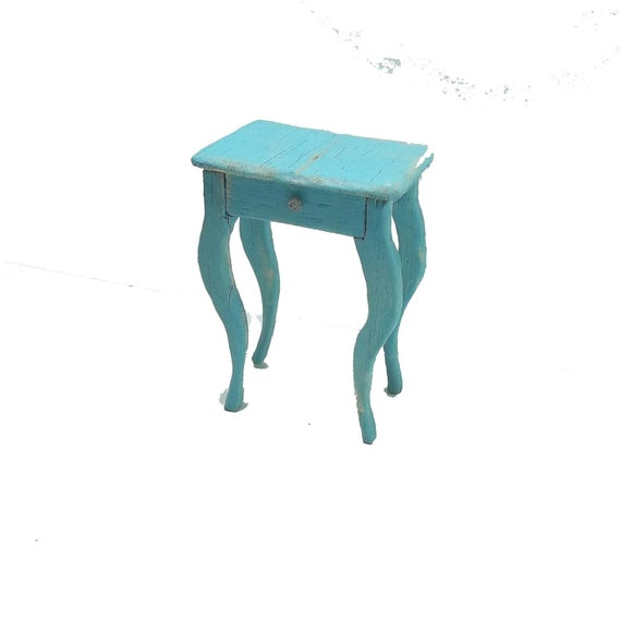 Miniature Dollhouse Shabby Chic Turqoise Side Table, One Inch Scale