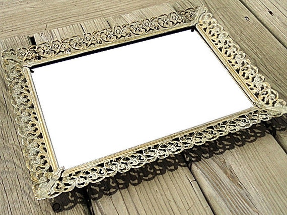 Vintage Mirror Tray or Wall Hanging