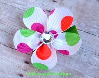 Girl flower hair bow, flower hair clip, neon hair bow,