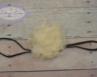 Brown ivory headband, brown ivory baby headband, baby girl headband, baby headband, infant headband, newborn headband, photography prop