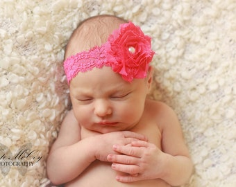 Pink baby headband, hot pink baby headband, nfant headband,  pink shabby flower with pearl on elastic headband