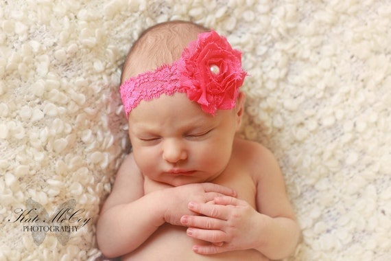 infant headband baby headband pink shabby flower with pearl infant headband baby headband pink shabby flower with pearl