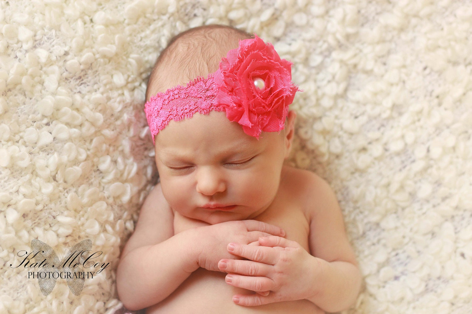 Infant headband baby headband pink shabby flower by buttercupsbows