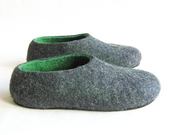 Mens Felted Slippers Green Black Tea, Wool House Shoes, Color Blocking, 6 Colors Rubber Soles, Outdoors TR soles, Mens Gifts Holidays