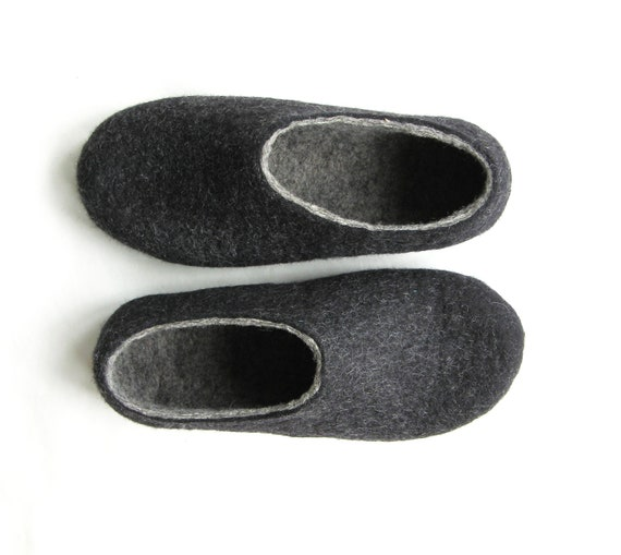 Womens Wool Slippers Contrast Color Black and Gray Gifts for Her Felted Wool Slippers Wool Shoes Rubber Soles Mix and Match Minimalist Shoes