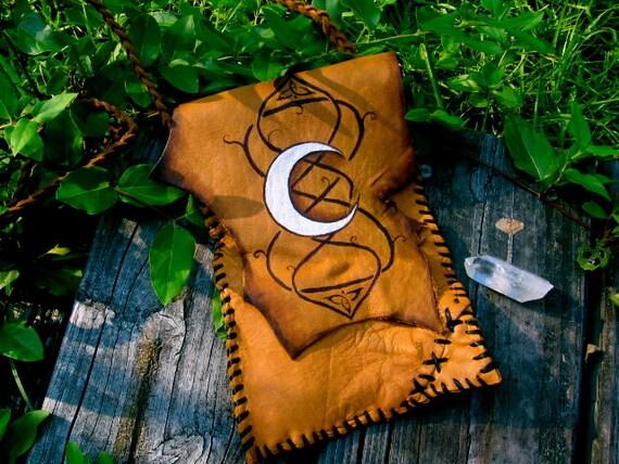SALE- Celtic Crescent Moon-  Rustic leather bag