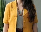 vintage mustard yellow blazer jacket 1980s M L XL