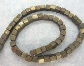 "Golden Pyrite Cubic Beads 6mm  - Full 16"" Strand"