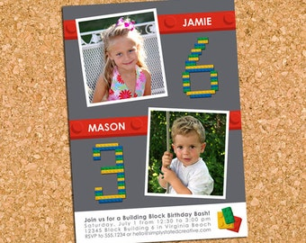 Building Blocks Birthday Party Photo Invitation, Building Bricks Invite, Joint Combined Party - DiY Printable || Double the Building Blocks