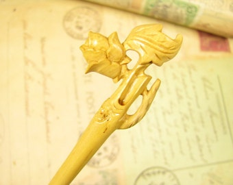 Boxwood Handmade Hair Stick / Shawl Pin - Rose Flower