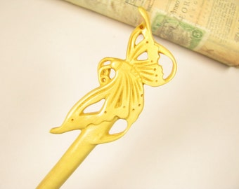 Exquisite Handmade Boxwood Hair Stick - Butterfly