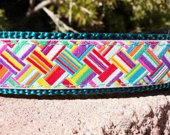 """Sale Dog Collar Basket Weave 1"""" wide Quick Release buckle -  martingale style is cost upgrade"""