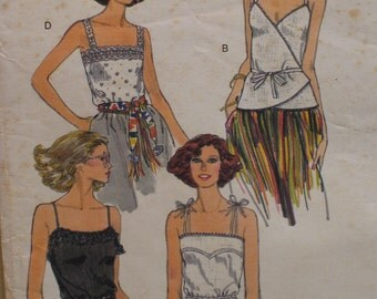 "Wrap Halter Tops Pattern, Knit, Camisole, Pullover, Shoulder Straps, Vintage Vogue No. 9764 Size 12 (Bust 34"" 87cm)"