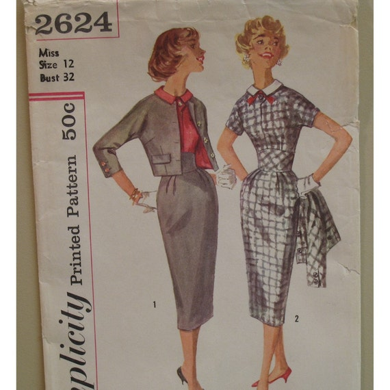 """1950s Wiggle Dress, Short Jacket, Fitted Bodice, Collar, Short Sleeves, Simplicity No. 2624 Size 10 (Bust 32"""" 81cm)"""