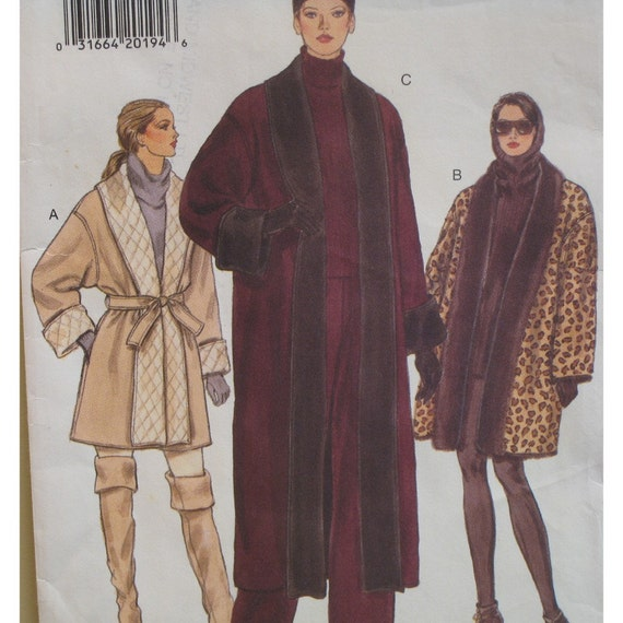 Reversible Wrap Coat Pattern, Loose Fitting, A line, Roll Up Sleeves, Tie Belt, Vogue No. 9105 UNCUT Size 12 14 16