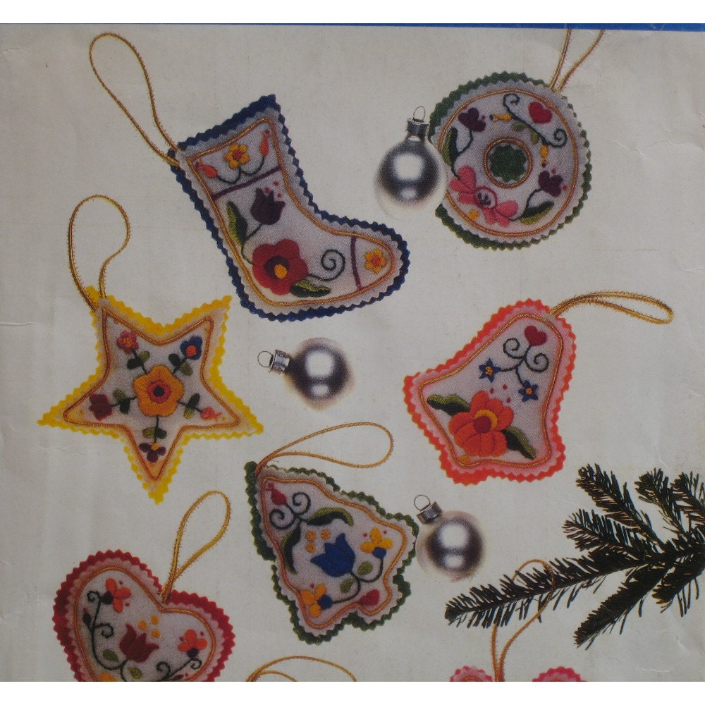 embroidered felt tree ornaments pattern vintage scandinavian