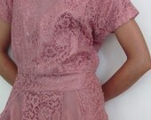 The 1950's Deep Mauve Lace and Tulle Cocktail Dress