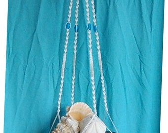 Large Macrame Plant Hanger White Cord with Aqua Glass Beads 53 inches total length Handmade by FunkyJunky