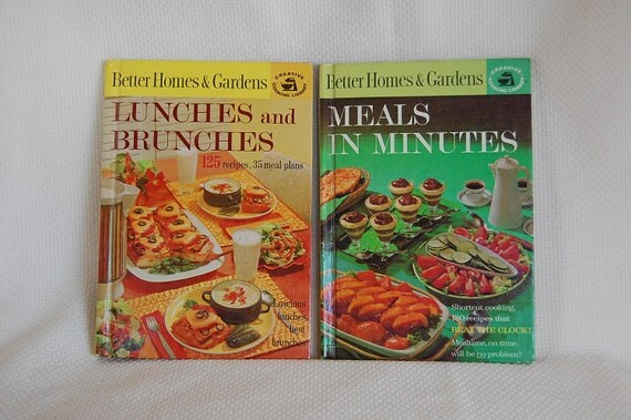 Set of 2 Vintage Better Homes and Gardens Cookbooks Meals in Minutes 180 Recipes and Lunches and Brunches 125 Recipes circa 1963