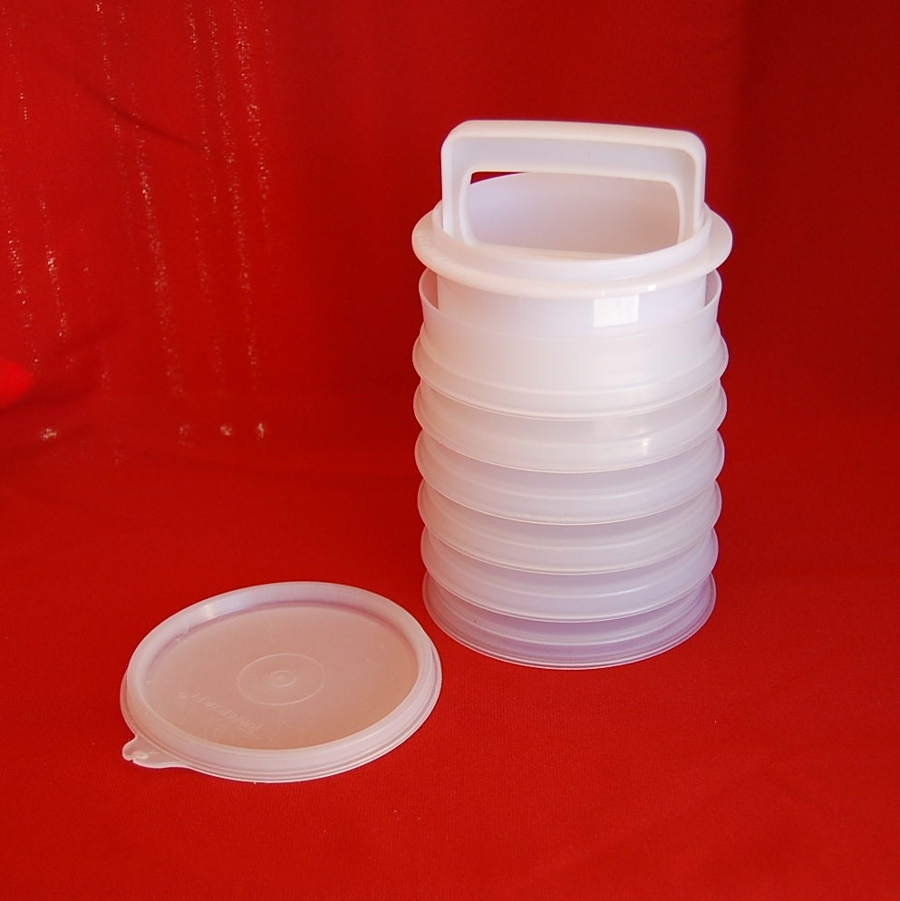 Vintage Tupperware Hamburger Press And Freezer Set Complete