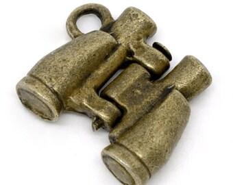3 Little Binocular Charm Antique Bronze 14x17mm in size