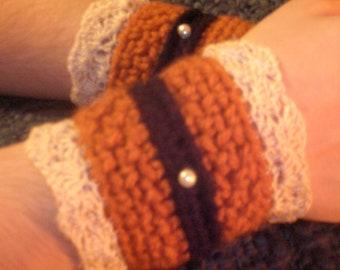 Arm Band Steampunk Wrist Cuffs Crocheted Cuffs Burnt Orange Cuffs Dark Brown Cuffs with Off White Lace and Faux Pearl