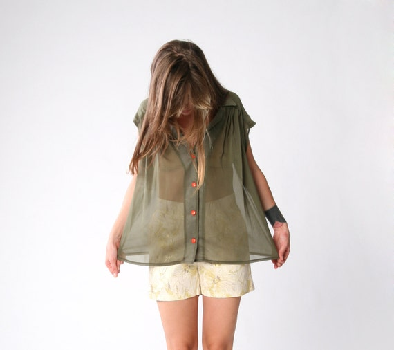 New year SALE 50%off, Oversize Sheer Olive Green chiffon blouse,  Sleevless button down shirt, only one left