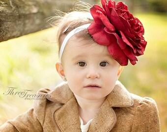 Red flower headband-valentine headband- large flower headband- holiday headband- flower girl headband- photo prop- birthday headband