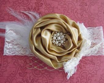 Vintage inspired Ivory gold satin lace headband,chiffon netting,xmas headband-newborn, baby headband-photo prop-flower girl- bridal