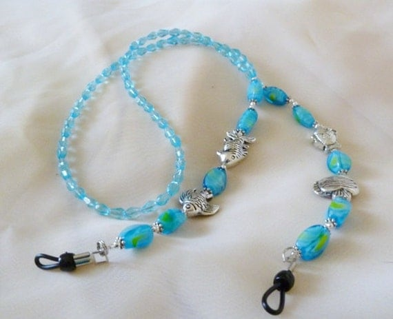 Aquatic Blue and Silver Eye Glass Chain
