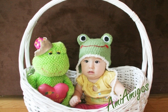 Silly Froggy Crochet Baby Hat (6 - 12 months)