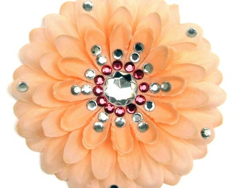 Peach Penny Blossom Sparkly Flower Barrette (The Big Bang Theory)