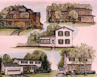 House Portrait Montage in Pen/Ink and Watercolor,Composite Original Artwork,Custom Home Illustration,Multiple Views House Portrait