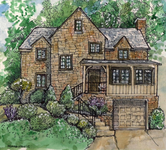 House Home Portrait,Custom pen and watercolor from your photos,by Patty Fleckenstein