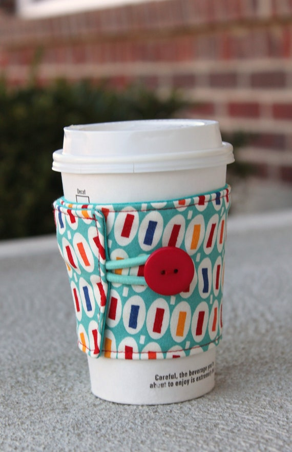 Coffee Cup Sleeve / Beverage Cozy - Reusable Fabric Coozie - Pezzy Print in Aqua - American Jane for Moda Fabrics