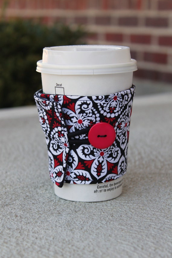 Reusable Coffee Sleeve / Cozy - Red, Black, and White Scroll - Henry Glass Fabrics