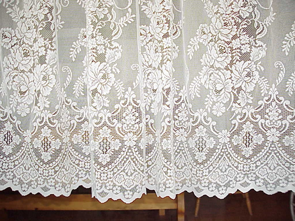 Vintage Victorian Cream LACE Curtain Panel 57 by BUTTERCUPGARDEN