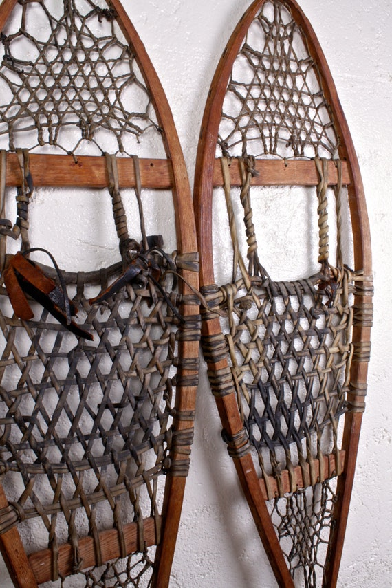 Vintage Snowshoes Rustic Cabin Decor By Objectsbyechoes On Etsy