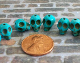 Teeny Tiny Turquoise Blue Stone Skull Beads