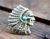 NATIVE CHIEF HEAD-cocktail adjustable ring matte silver Native American Bohemian Gypsy Navajo Free people Western Cowgirl