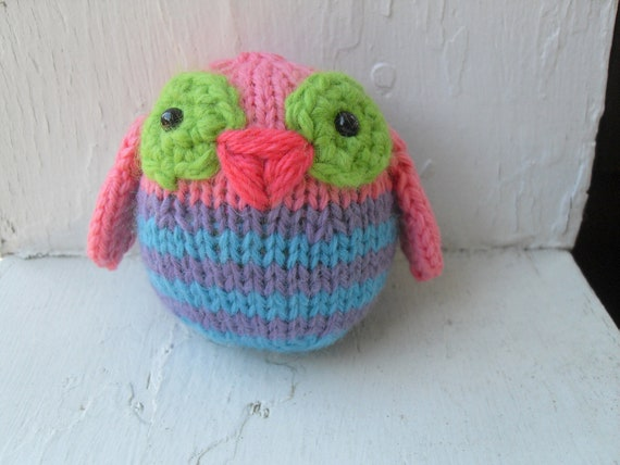 Hand Knit Owl Plush Pink, Purple and Blue Stripe Ready To Ship