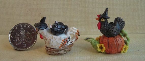 SALE.... pair of witches chicken teapots