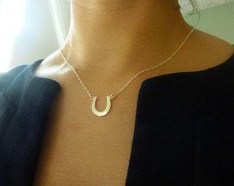 Horseshoe Necklace-Gold Horseshoe Necklace-Silver Horseshoe Charm Necklace-Horseshoe Pendant Necklace-Lucky Charm-Graduation Gift-MomentusNY