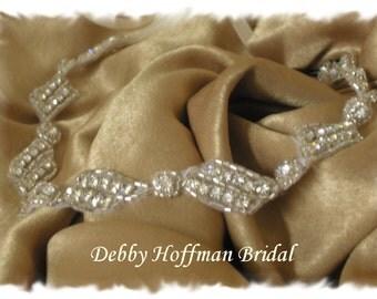 Wedding Headband, Bridal Rhinestone Ribbon Headband, Halo Headband, Rhinestone Crystal Bridal Head Piece, Jeweled Hair Piece, No. 1151HB