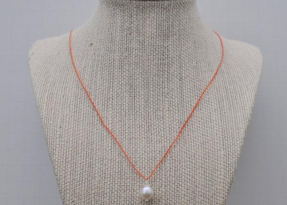 Orange Irish Linen Cord Pearl Pendant Necklace