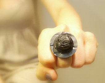 Black Vintage Button Ring, Adjustable Charcoal Gray Button, Upcycled Retro Ring